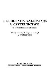 Okładka Bibliografia zalecająca a czytelnictwo