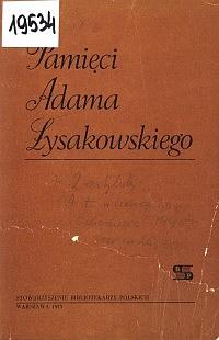 Okładka Pamięci Adama Łysakowskiego