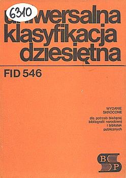 Okładka Uniwersalna Klasyfikacja Dziesiętna FID 546
