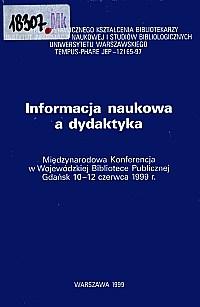 Okładka Informacja naukowa a dydaktyka