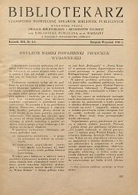 Okładka Bibliotekarz 1946, nr 8-9