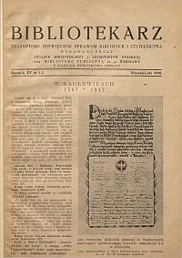 Okładka Bibliotekarz 1948, nr 1-2