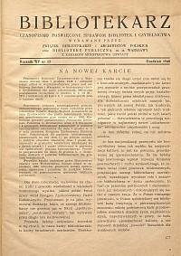 Okładka Bibliotekarz 1948, nr 12