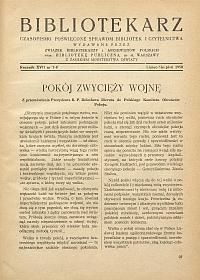 Okładka Bibliotekarz 1950, nr 7-8