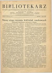 Okładka Bibliotekarz 1951, nr 1-2