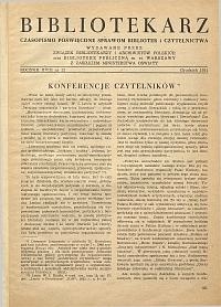 Okładka Bibliotekarz 1951, nr 12