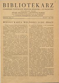 Okładka Bibliotekarz 1952, nr 1
