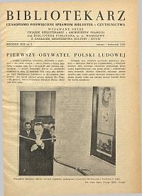 Okładka Bibliotekarz 1952, nr 2