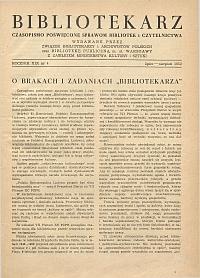 Okładka Bibliotekarz 1952, nr 4