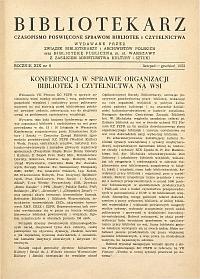 Okładka Bibliotekarz 1952, nr 6