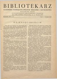 Okładka Bibliotekarz 1954, nr 4