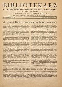 Okładka Bibliotekarz 1954, nr 5