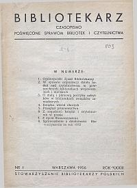 Okładka Bibliotekarz 1956, nr 1