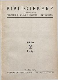 Okładka Bibliotekarz 1956, nr 2