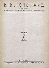 Okładka Bibliotekarz 1956, nr 7