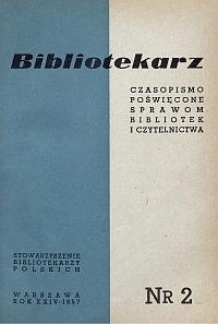 Okładka Bibliotekarz 1957, nr 2
