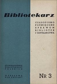 Okładka Bibliotekarz 1957, nr 3