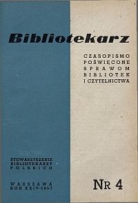 Okładka Bibliotekarz 1957, nr 4