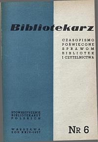 Okładka Bibliotekarz 1957, nr 6