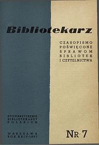 Okładka Bibliotekarz 1957, nr 7