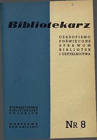 Okładka Bibliotekarz 1957, nr 8