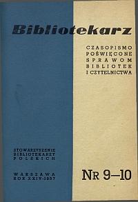 Okładka Bibliotekarz 1957, nr 9-10