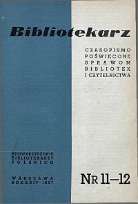 Okładka Bibliotekarz 1957, nr 11-12