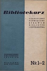 Okładka Bibliotekarz 1958, nr 1-2