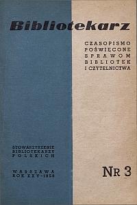 Okładka Bibliotekarz 1958, nr 3