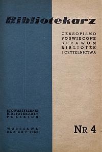 Okładka Bibliotekarz 1958, nr 4