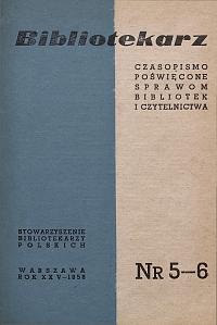 Okładka Bibliotekarz 1958, nr 5-6