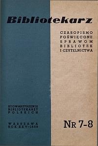 Okładka Bibliotekarz 1958, nr 7-8