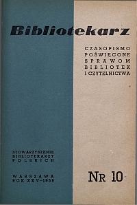 Okładka Bibliotekarz 1958, nr 10