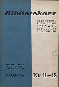 Okładka Bibliotekarz 1958, nr 11-12