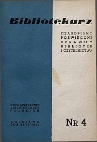 Okładka Bibliotekarz 1959, nr 4