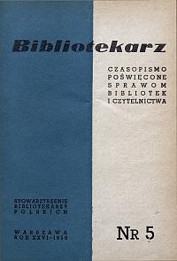 Okładka Bibliotekarz 1959, nr 5