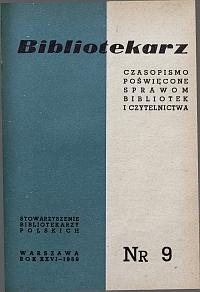 Okładka Bibliotekarz 1959, nr 9