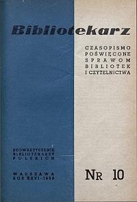 Okładka Bibliotekarz 1959, nr 10