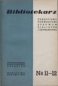 Okładka Bibliotekarz 1959, nr 11-12