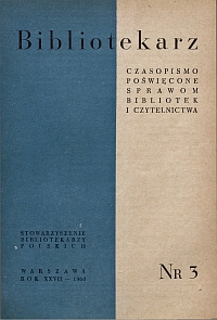 Okładka Bibliotekarz 1960, nr 3