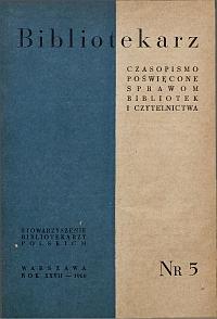 Okładka Bibliotekarz 1960, nr 5