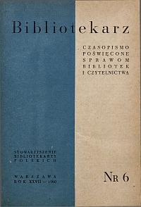 Okładka Bibliotekarz 1960, nr 6