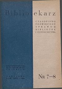Okładka Bibliotekarz 1960, nr 7-8