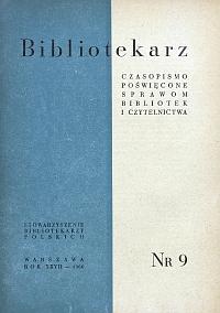 Okładka Bibliotekarz 1960, nr 9
