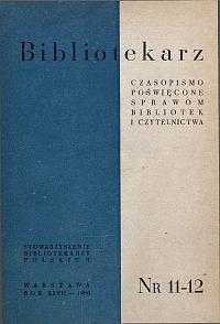 Okładka Bibliotekarz 1960, nr 11-12