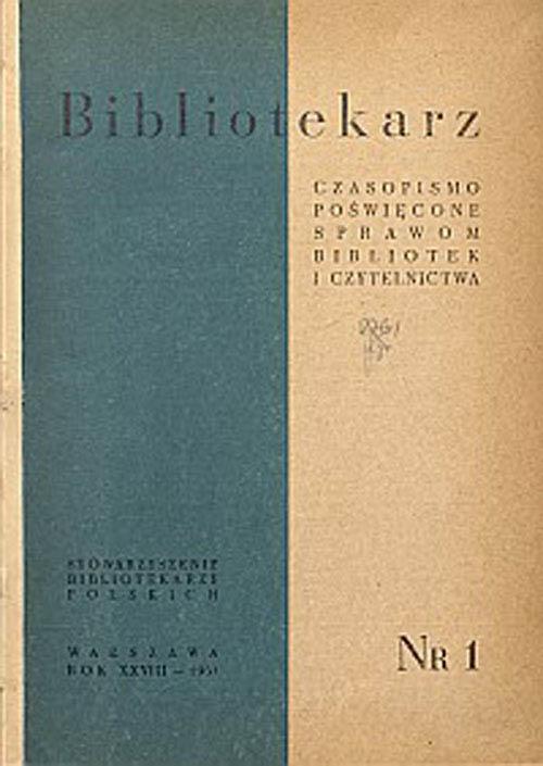 Okładka Bibliotekarz 1961, nr 1