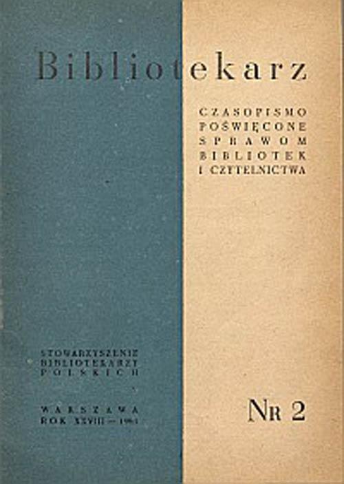 Okładka Bibliotekarz 1961, nr 2