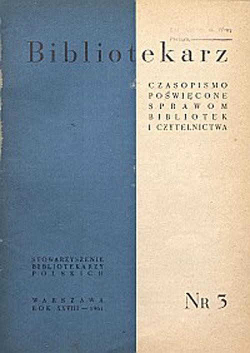 Okładka Bibliotekarz 1961, nr 3