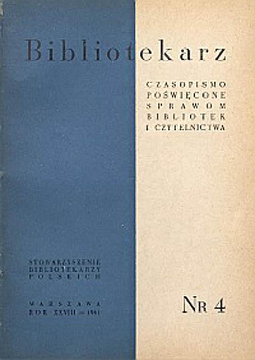 Okładka Bibliotekarz 1961, nr 4