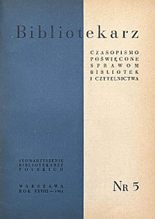 Okładka Bibliotekarz 1961, nr 5